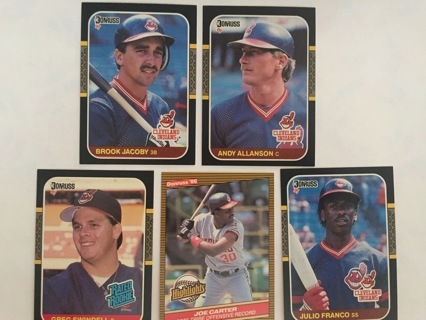 5 INDIANS BROOK JACOBY, ANDY ALLANSON, GREG SWINDELL, JOE CARTER & JULIO FRANCO TRADING CARDS