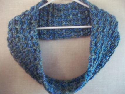 Hand Crocheted Blue Green Ombre Waffle Stitch Infinity scarf