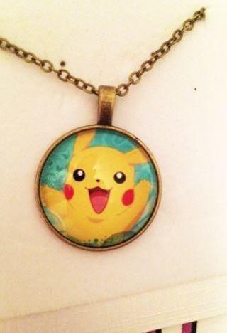 NEW Pokemon Pocket Monster Chain PIKACHU Crystal Cabochon Collar Necklace Pendant
