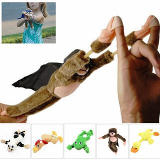Flying Monkey Chicken Duck Frog Cow Screaming Flying Slingshot Fun Plush Toys