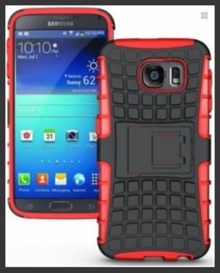 NEW SAMSUNG GALAXY s6 PHONE CASE RED HYBRID◎ HOUSING Scratch-Resistant No-Shock NoSlip Stand