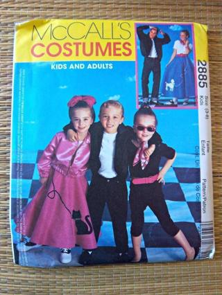 NEW - Mc Call's Costumes #2885 50's Theme Clothing - Kids Size 3-8 and Adult Sizes