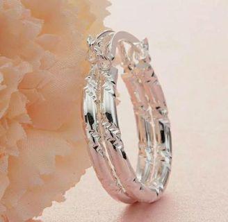 Women Simple Big Round Ear Drop Dangle 925 Silver Earrings Wedding Party Jewelry