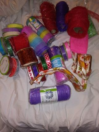 Huge lot of ribbon/ craft supplies/ mesh Valentine's day ribbon etc..