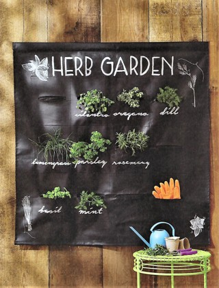 "NEW""CHALKBOARD FABRIC HERB GARDEN""~ Free Ship."