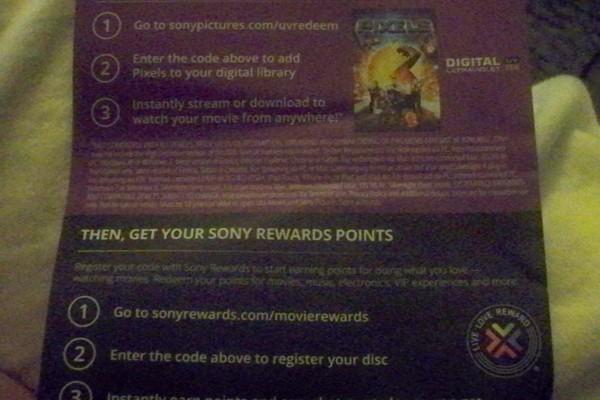 Free: PIXELS SD UV CODE + 100 SONY REWARDS POINTS - Other