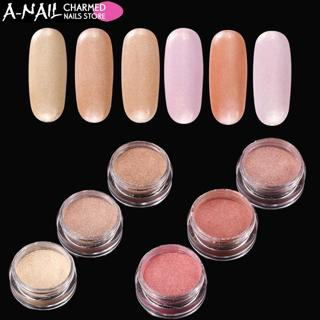 6 colors /set Gradient skin color effect Nail Glitter Pigment Pearl Shimmer Shell Powders Nail Pow