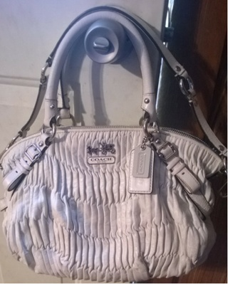 Coach Madison Gathered Leather Sophia Bag Purse 15942 In Parchment Offwhite Authentic