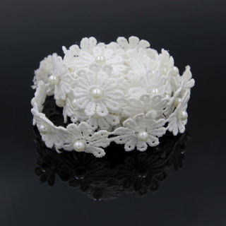 3 Yards Flower Beaded Lace Trim Applique Wedding Dress Sewing Craft Decor DIY