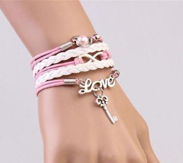 NEW Infinity Love Heart Key Friendship Antique Silver Leather Charm Bracelet