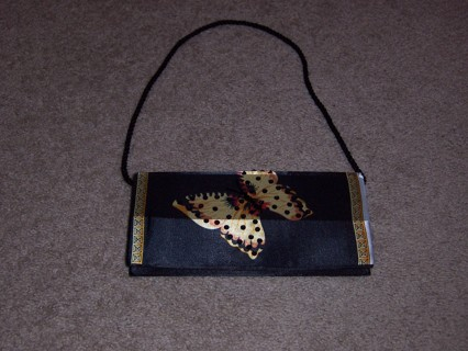 Free Gorgeous Black Beaded Sequin Silk Like Livingston Collection Gold Erfly Purse