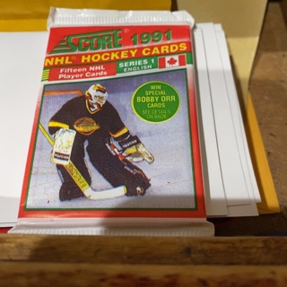 1991 score English series one unopened pack of hockey cards