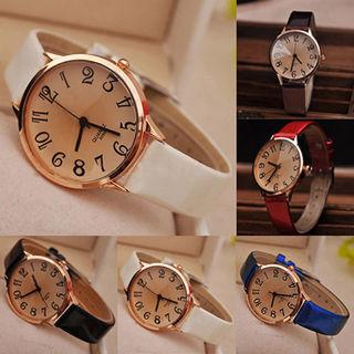 Women's Fashion Faux Leather Strap Brown Mirror Analog Quartz Wrist Watch Finest
