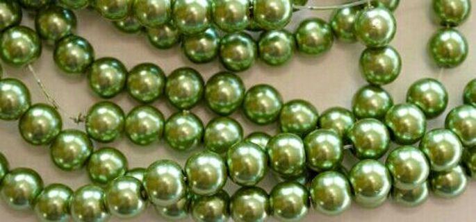 Last 3 green glass pearls beads