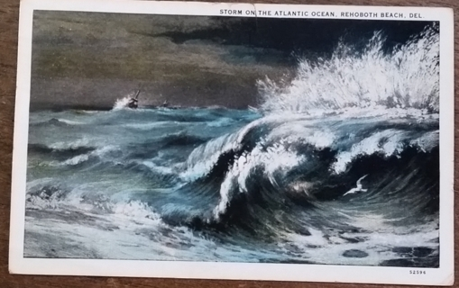 STORM ON THE ALANTIC OCEAN, REHOBOTH BEACH, DEL. - 1933   old used postcard