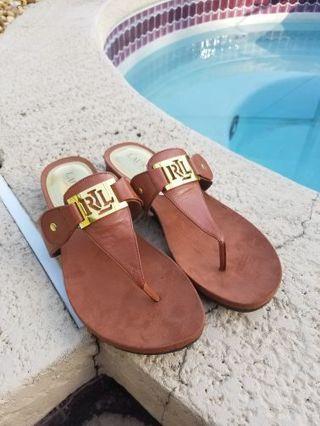 Ralph Lauren Sz, 8.5 lakin slide thong sandals Like new free shipping in USA