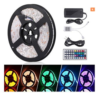 Sunnest Led Light Strip Waterproof 16.4ft with 44key Remote Controller and Power Supply