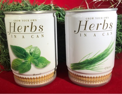 Herbs in a can Growing Kits - (1) CHIVE & (1) BASIL - everything included
