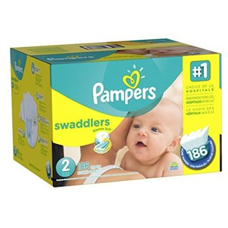 2 ~ Pampers Swaddlers Diapers Size 2, 186 Count