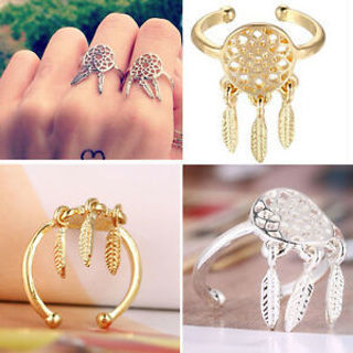 Top Sale Fine Jewelry For Lady Girls Dreamcatcher Rings Feather Charm Pendant
