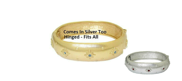 Wide bracelet hinged bangle white or yellow NWT