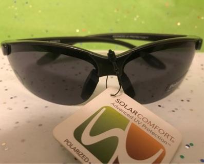 SOLARCOMFORT Olympic Black/Driving Polarized Blocks 100% UVA/UVB SZ Med SUNGlasses