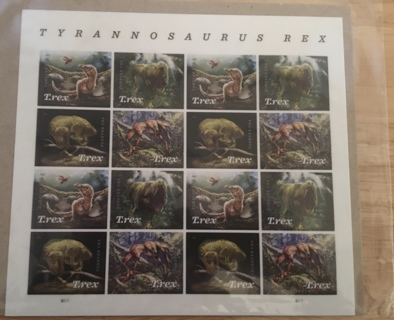 FULL SHEET OF 16 TYRANNOSAURUS REX FOREVER STAMPS