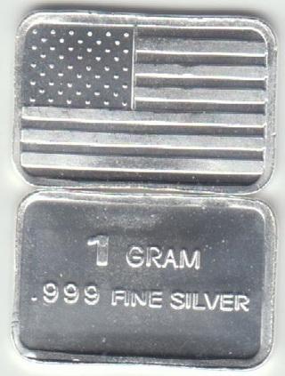 1 Gram SOLID SILVER Bar - Fine .999 Pure *FLAG*