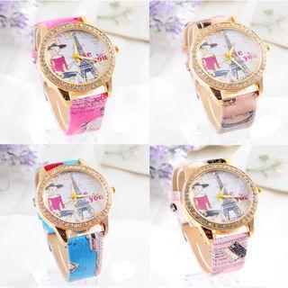 Fashion Women WristWatch Quartz Watch Leather Band Round Dial Eiffel Tower Watch
