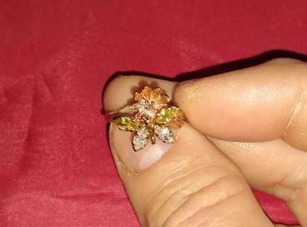 RING FANTASTIC 14K YELLOW GOLD WITH ABOUT HALF A CARAT WORTH OF FINE DIAMONDS WOW BUTTERFLY LOVERS