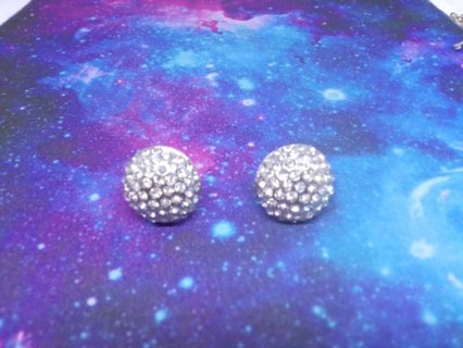 Silver Colored Round Rhinestone Earrings