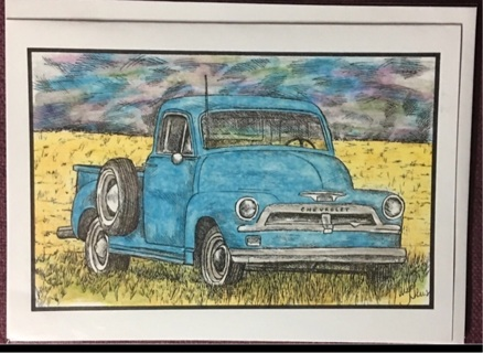 "VINTAGE BLUE CHEVROLET - 5 x 7"" art card by artist Nina Struthers - GIN ONLY"
