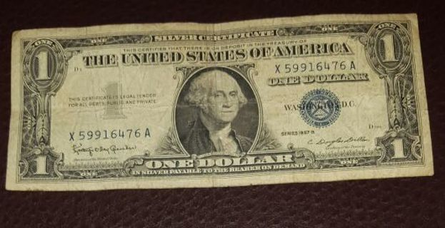 Free: Vintage 1957 B $1 Blue Seal Silver Certificate - Coins ...