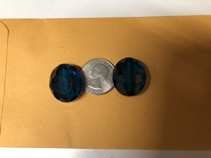 2 Austrian Sapphire Crystal Beads