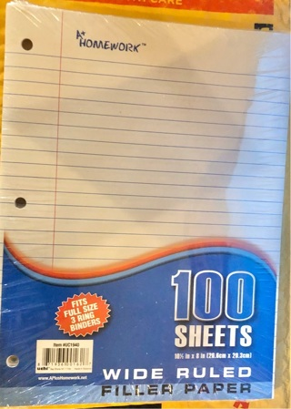 """Brand New Pack Of 100 page, Wide Ruled, Filler Paper. 10.5""""x 8.0"""" and Binder Ready"""