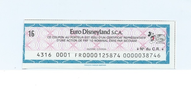 Euro Disneyland bond coupon with Mickey Mouse Great Disney collectable