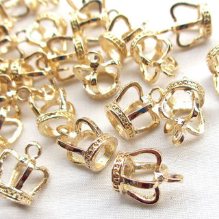 20PCS 3D Gold Alloy Crown Charm Pendant Jewelry Findin