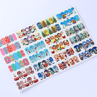 2Sheets 12 Patterns Water Decals Christmas Santa Claus Nail Art Transfer Stickers Tips