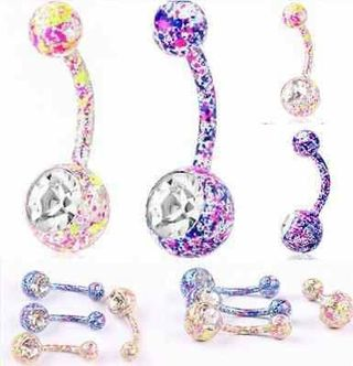 316 Surgical Steel Navel Belly Rings Crystal Body Piercing Gift MIX COLOR 1x CH