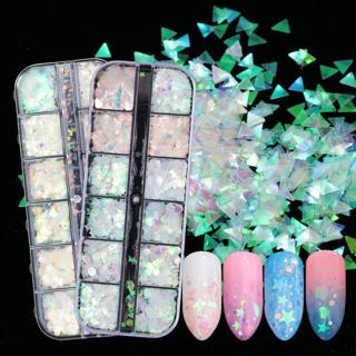 1 Case AB Mermaid Nail Paillette Holographic Powder Nail Glitter Geometry Smile Flakes Sequins Man