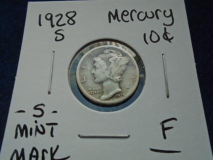 1928-S U.S. MERCURY SILVER DIME -S- MINT MARK FULL BOLD DATE!