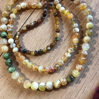 [GIN FOR FREE SHIPPING] 15in Yellow Brown Fire Agates Natural Stone Beads