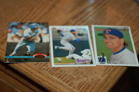 Set of 3 Texas Rangers Baseball Cards - Rogers