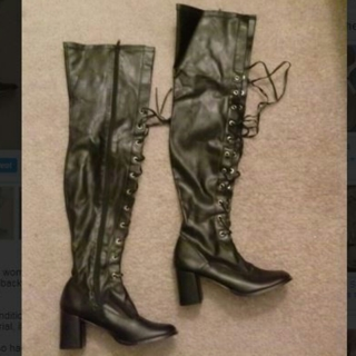 1 pair Funtasma Dominatrix BOOTS Lace Up Front Lust Wide Width Thigh High Boots