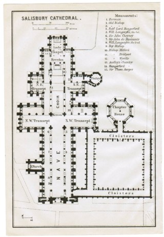 Free Original 1910 Blueprint Map Of Salisbury Cathedral England