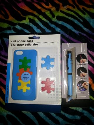 Autism Awareness cell phone case with matching blue laser stylus
