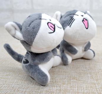 Kawaii Grey CAT Plush Stuffed Toys Bouquet Gift Soft Plush Cat Doll CAT Key Chain Plush TOY