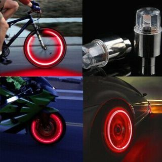 1 Pair Red Neon Tire Wheel Valve LED Light Lamp for Car Bike Bicycle Motorcycle~