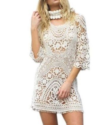 NEW Elegant Beach Dress Tunic Swimsuit Cover Up Hollow Knitted FREE SHIPPING