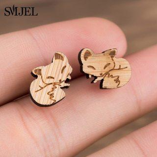 SMJEL Origami Fox Stud Earrings for Women Bamboo Wooden Simple Origami Fox Post Earring Jewelry